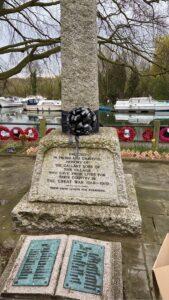 War Memorial with black sash of respect